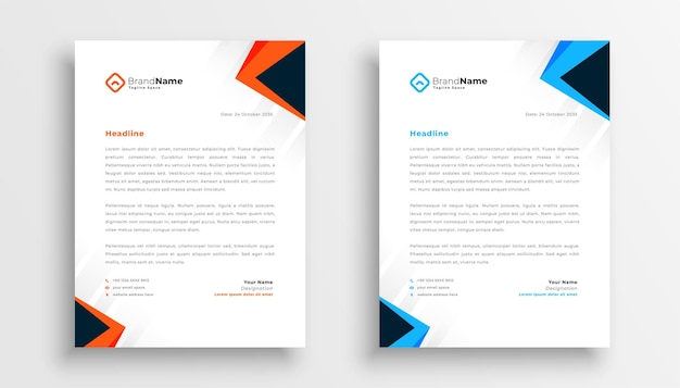 Simple letterhead design set of two in geometric style Free Vector
