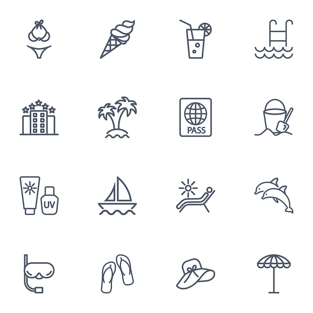 Simple line icon set of travel. Premium Vector