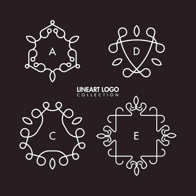 Simple lineart logo template collection Premium Vector