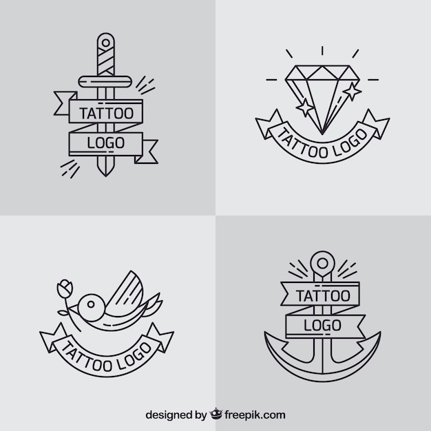Simple logo tattoo collection Free Vector