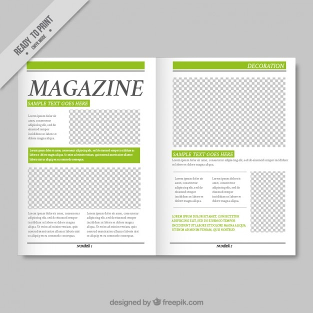Simple magazine template with green details vector free for Magazine layout templates free download