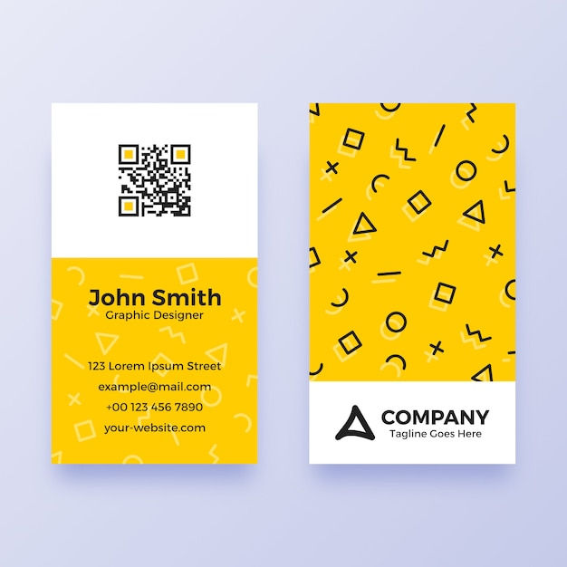 Simple memphis business card template Premium Vector