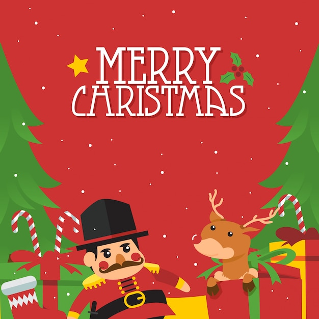Simple merry christmas illustration poster concept Premium Vector