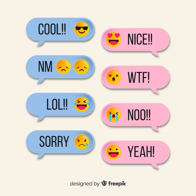 Simple messages with emojis template Free Vector