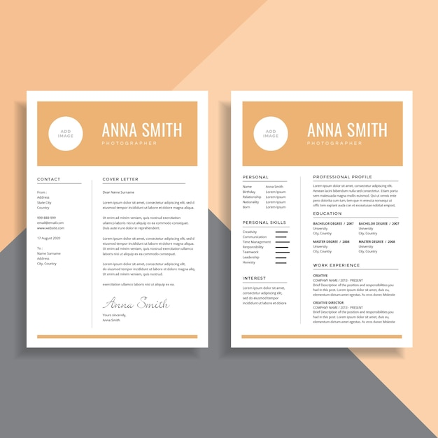 Simple Minimalist  Page Resume Cv Template Design Vector  Premium