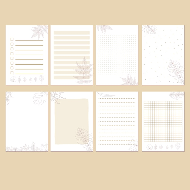 Simple minimalist autumn stationary template set Premium Vector