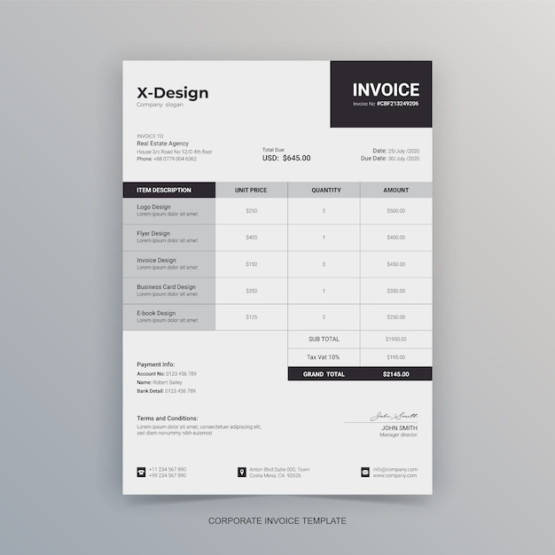 Simple minimalist business invoice letterhead Premium Vector