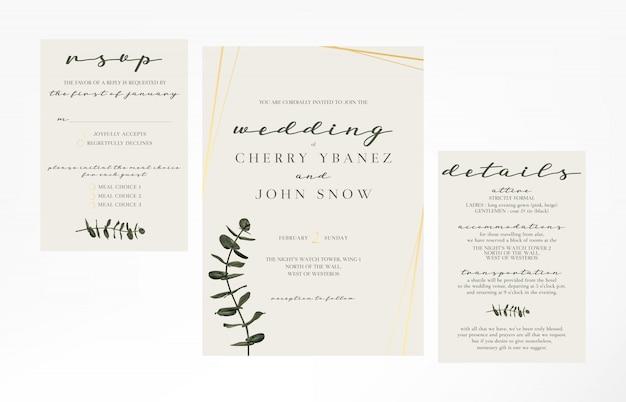 Simple And Minimalist Feminine Wedding Invitation Template