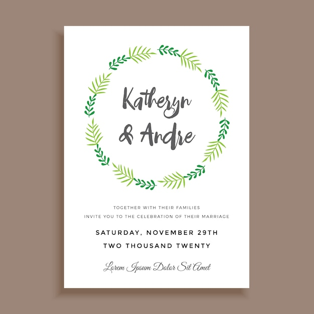 Simple Minimalist Wedding Invitation Design Vector