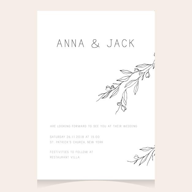Simple minimalist wedding invitation vector premium download simple minimalist wedding invitation premium vector stopboris Images