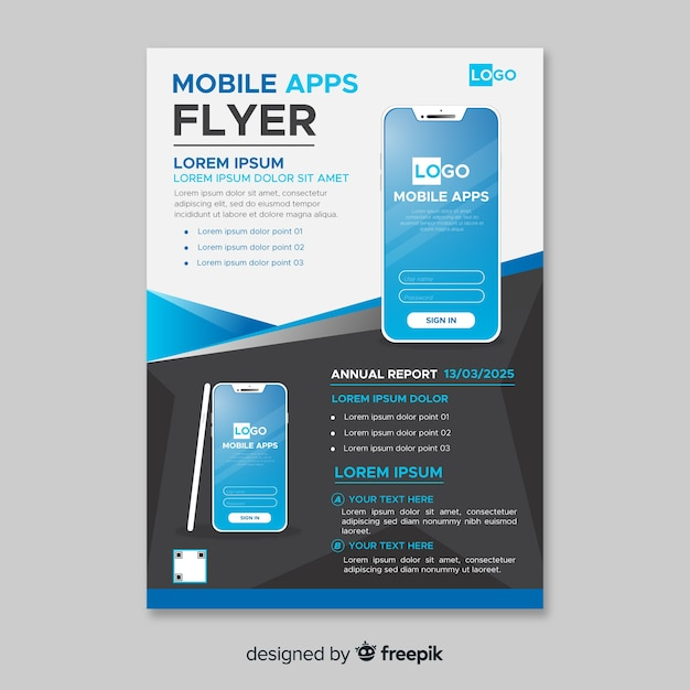 Simple mobile phone flyer Vector | Free Download