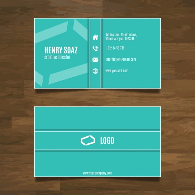 Simple modern business card design Free Vector