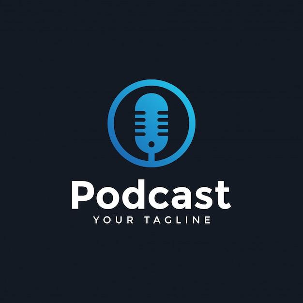 Simple modern podcast logo design template Premium Vector