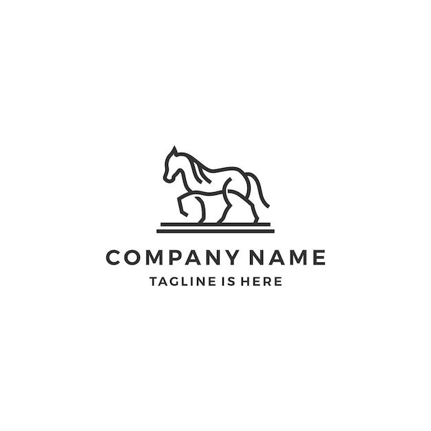 simple monoline outline walking horse line art logo template vector illustration premium vector