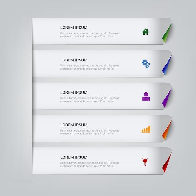 Modello di infographics di passaggi di linea appiccicosa multicolore semplice. Vettore gratuito