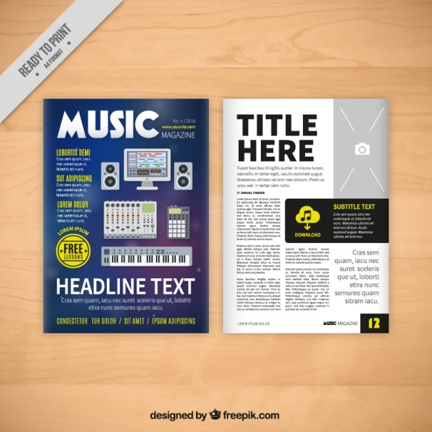 Simple music magazine template Vector | Free Download