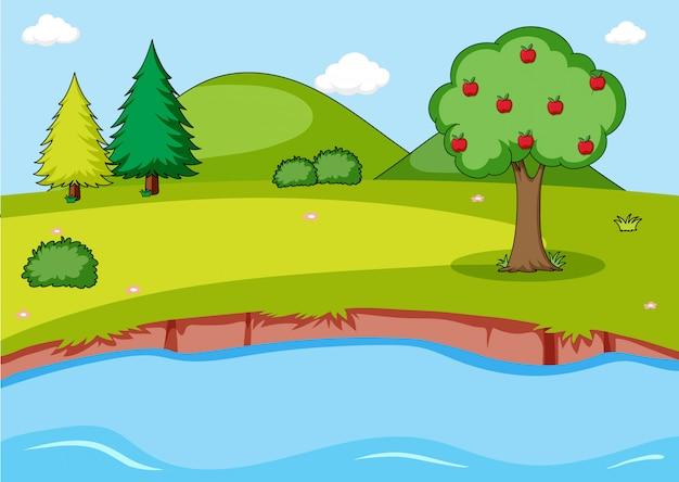 Simple nature landscape background Free Vector
