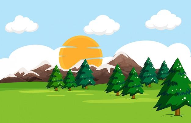 A simple nature landscape Free Vector