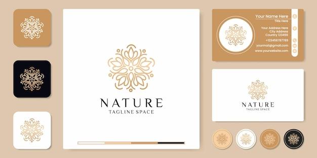간단한 자연 잎 장식 로고 디자인, 스티커 및 명함 디자인 프리미엄 벡터