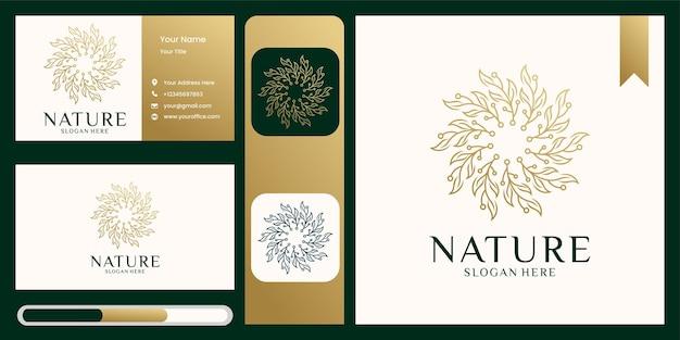 シンプルな自然の葉飾り自然ロゴと名刺 Premiumベクター