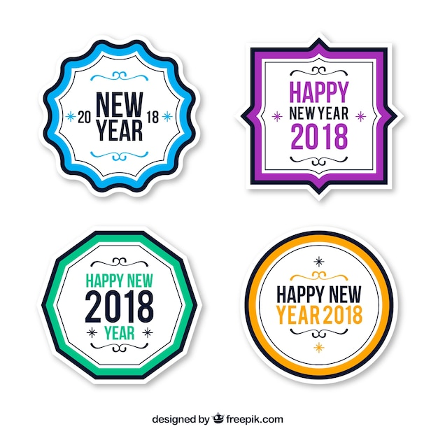 simple new year 2018 badge collection free vector