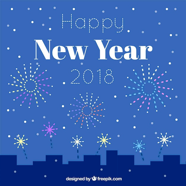 simple new year background with a city and fireworks free vector