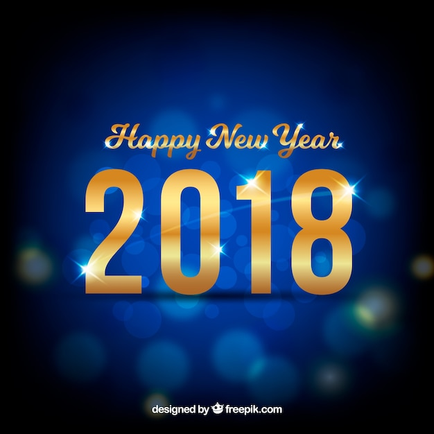 simple new year background with bokeh effect free vector