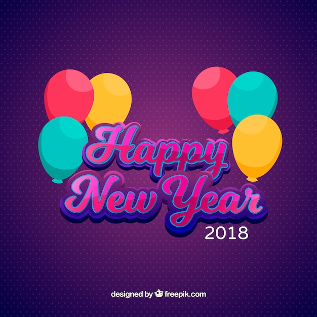 Simple new year background with colourful balloons