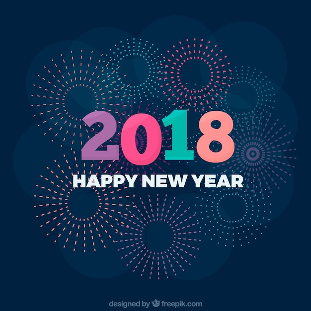 simple new year background with colourful digits free vector