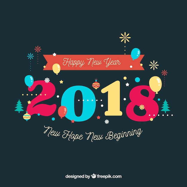 Simple new year background with colourful digits