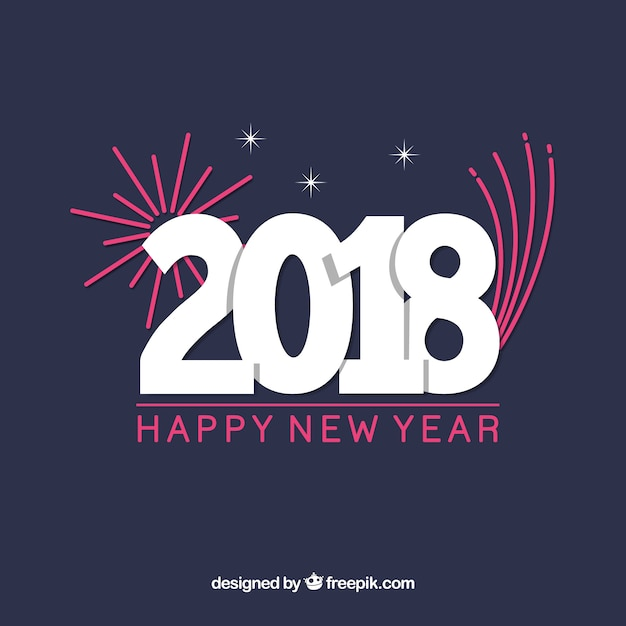 simple new year background with flat pink fireworks free vector