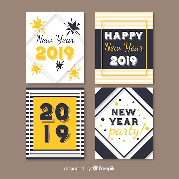 simple new year card collection free vector