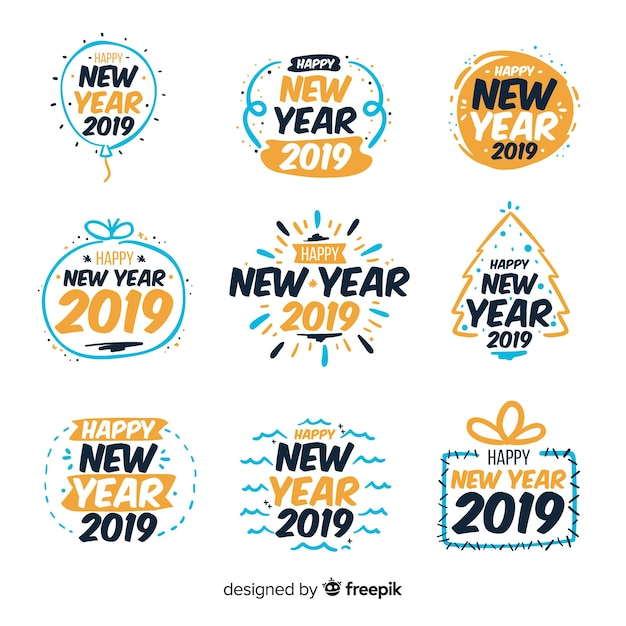 Simple new year stickers collection Vector | Free Download