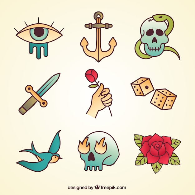 Simple Old School Tattoo Collection Vector Free Download