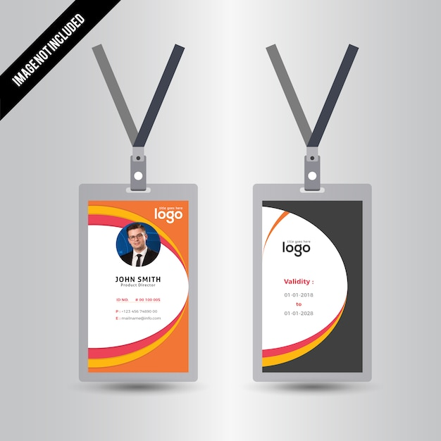 Simple Orange & Yellow Color Id Card Design Template Vector ...
