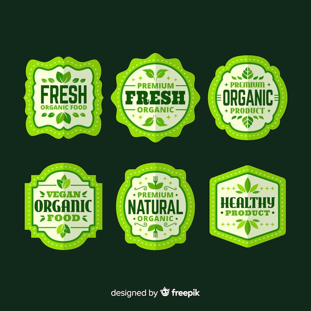 Simple organic food label collection Free Vector