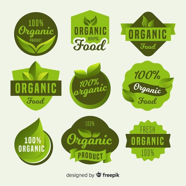 Simple organic food label pack Free Vector