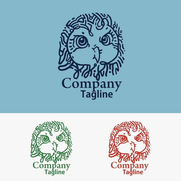 シンプルなフクロウ技術のロゴ Premiumベクター