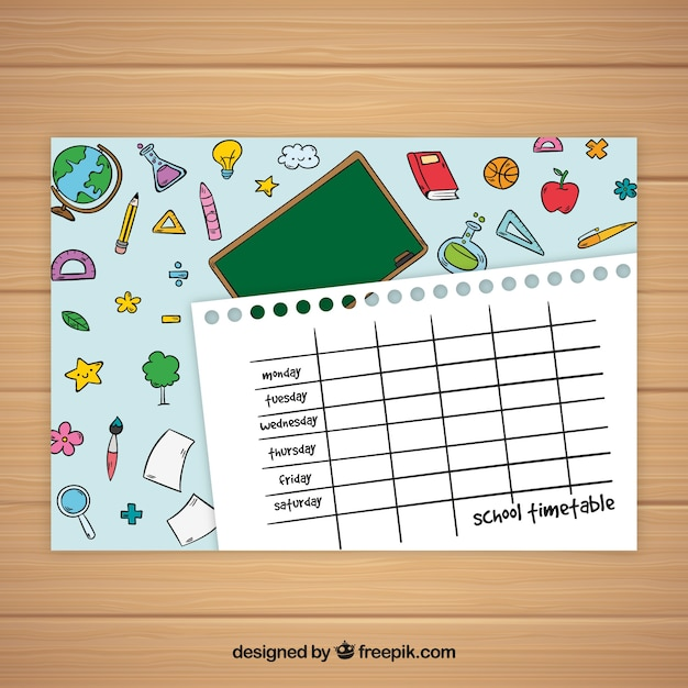 Simple paper style school timetable template