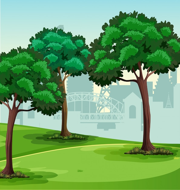 A simple park scene Free Vector