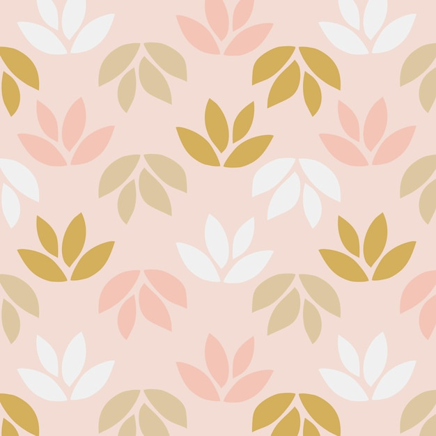 Simple pattern of leaves on pink background Free Vector