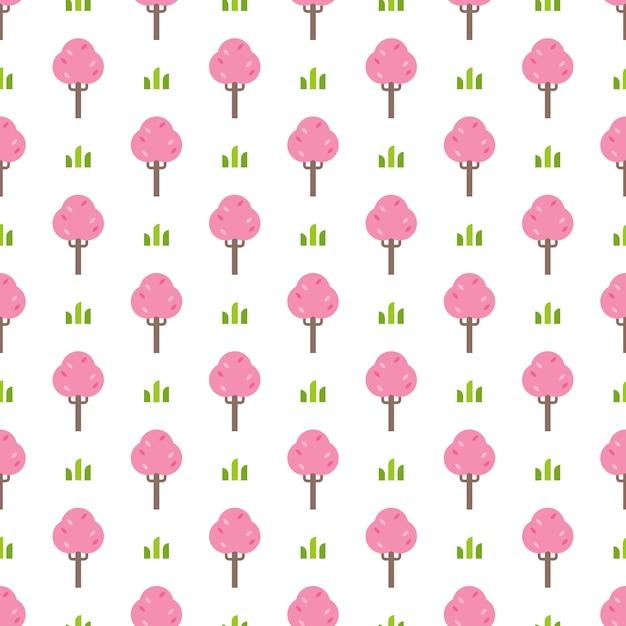 シンプルなピンクの木のパターン Premiumベクター