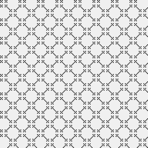 Simple Pixelated Pattern With Monochrome Geometric Shapes Useful For Textile And Interior Design Premium