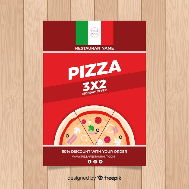 Simple pizza restaurant flyer Free Vector