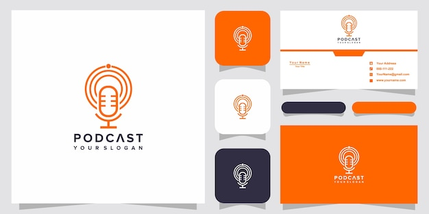 Simple podcast logo design with business card template Premium Vector