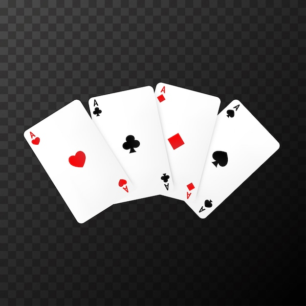 Simple poker cards on the transparent Premium Vector