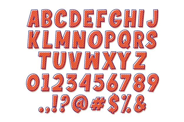 Простой поп-арт мультяшный алфавит Бесплатные векторы