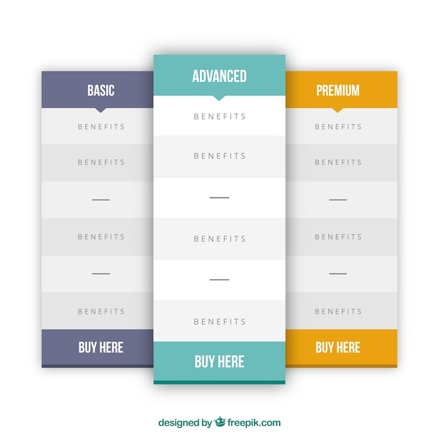 Simple pricing plans tables | Free Vector