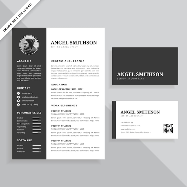 Simple Professional Resume CV And Business Card Template Design Set Premium  Vector  Resume Business Cards