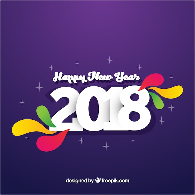 simple purple new year background with colourful elements free vector